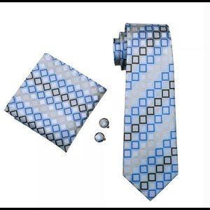 Mens Tie Blue Novelty 100% Silk Fashion Necktie